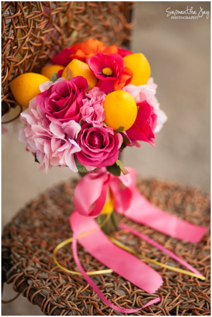"Adorable themed bouquet that went perfectly with the ""Pink Lemonade"" theme."