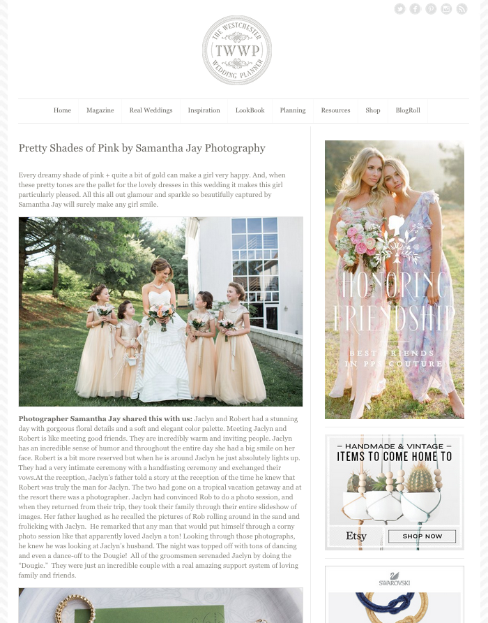 Featured on The Westchester Wedding Planner | Jaclyn & Robert | Romantic, Rural Wilmington Wedding Photographer