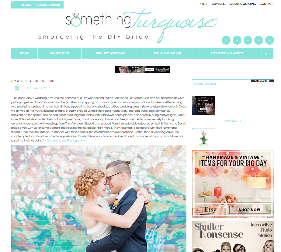 Featured on Something Turquoise | Colorful DIY Philadelphia Wedding | Brittany and Derek!