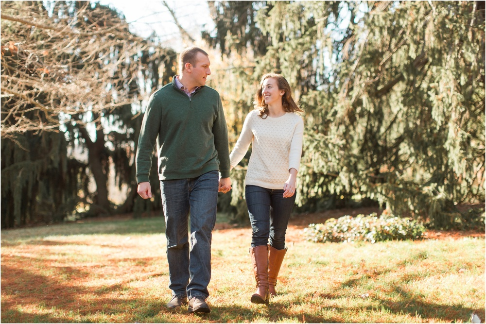 Golden Fall Sunset Engagement Session | Morris Arboretum Engagement Photography | Kerry and Matt