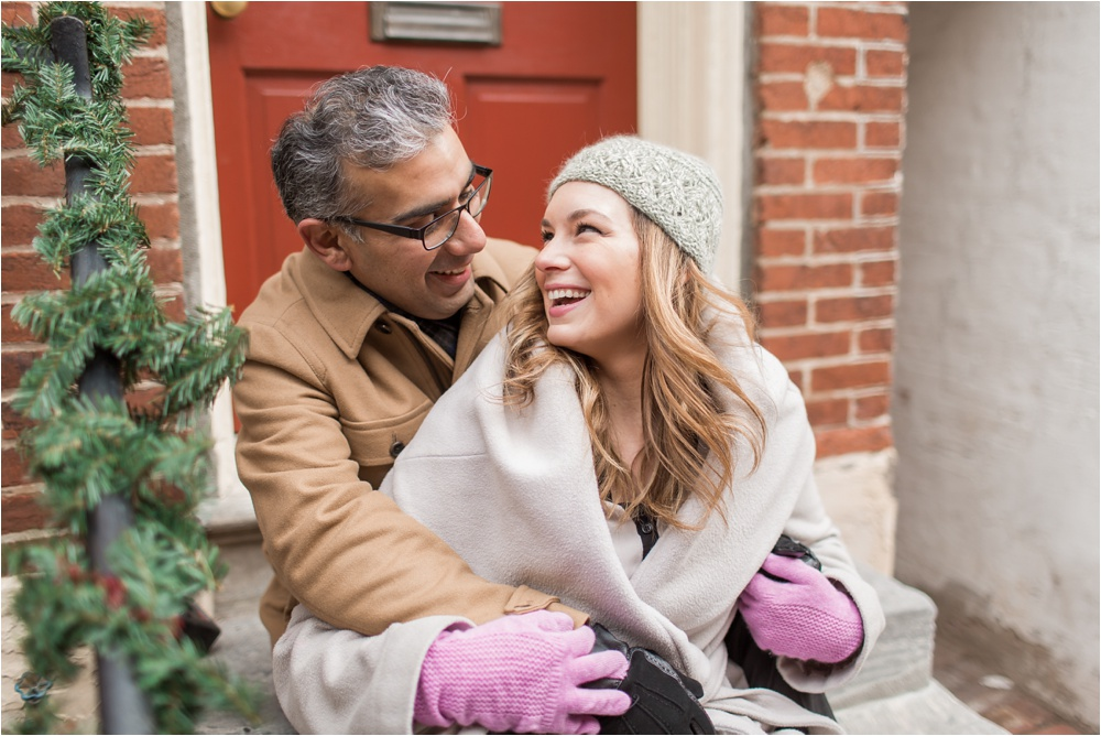 Elfreth's Alley Winter Engagement in Philadelphia | Old City Engagement Photographer | Marissa and Kam