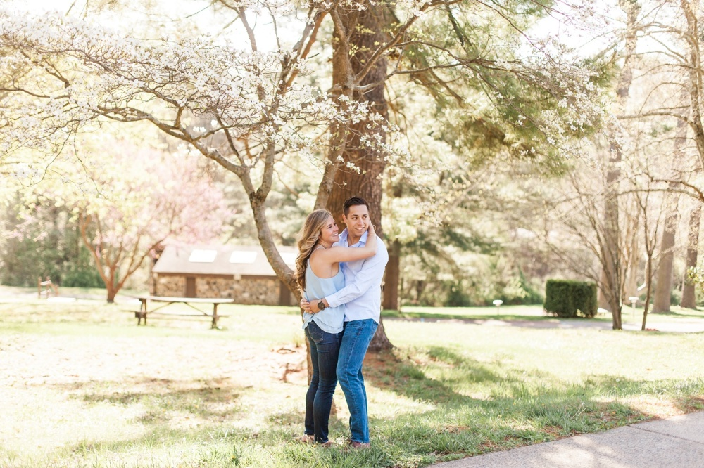 Ridley Creek State Park Engagement Photography | Early Morning Spring Sunshine | Cait, Ryan & Brooklyn