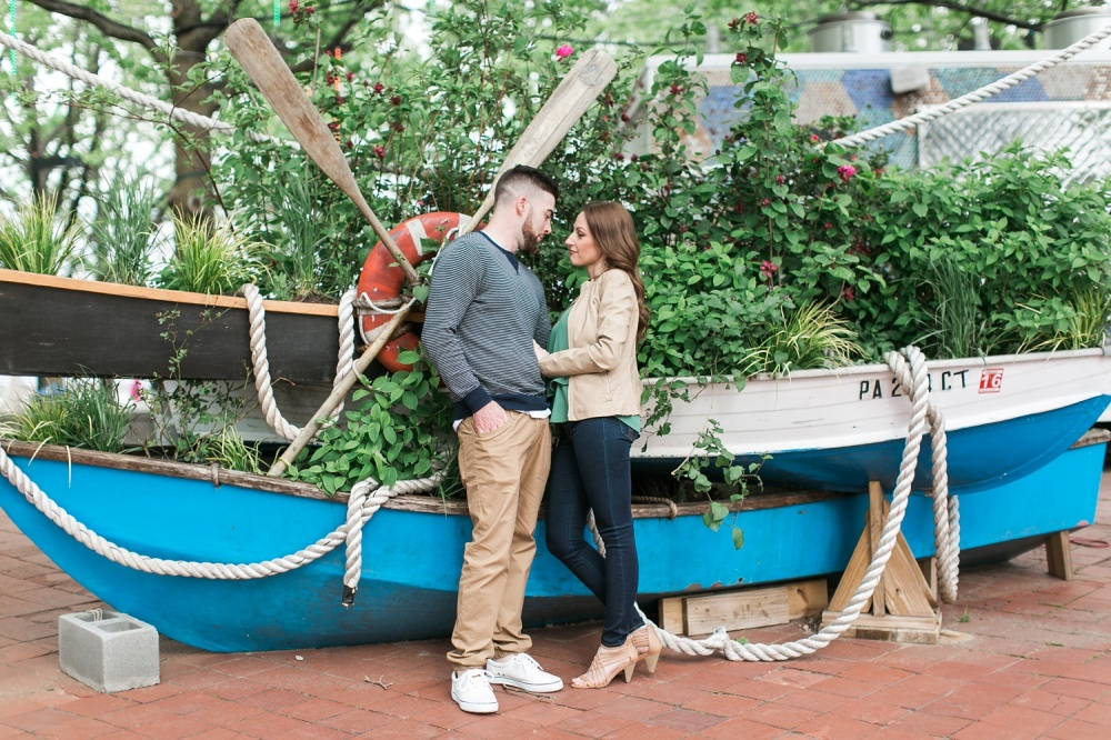 Spruce Street Harbor Park Engagement Session | Spring Engagement | Nicole and Mike